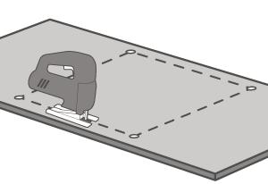 FENIX NTM® Compact sollte mit einer Handfräse mit der Oberseite nach oben geschnitten werden, wenn Schnitte gemacht werden, die sichtbar sind.