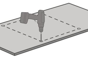 Wenn der Ausschnitt ausgemessen ist, können Bohrungen für den Beginn der Öffnung vorgenommen werden, wobei die Kanten nicht sichtbar sein werden.