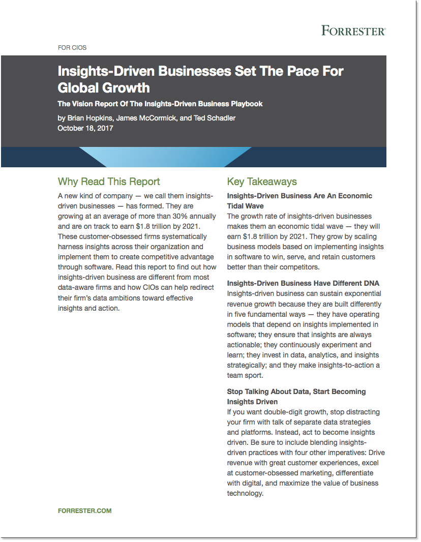 Forrester Report: Insights-Driven Businesses Set the Pace for Global Growth