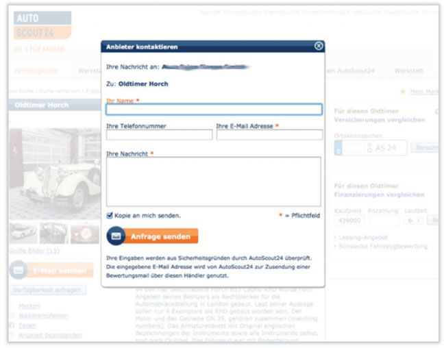 Original contact form of AutoScout24