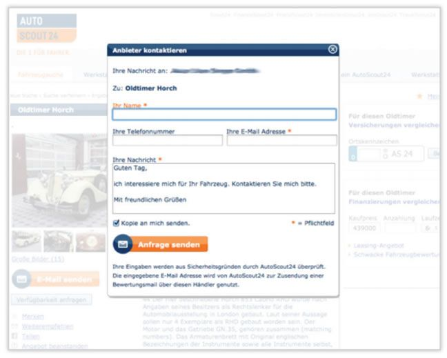AutoScout24 Variation 3: Pre-filled text box