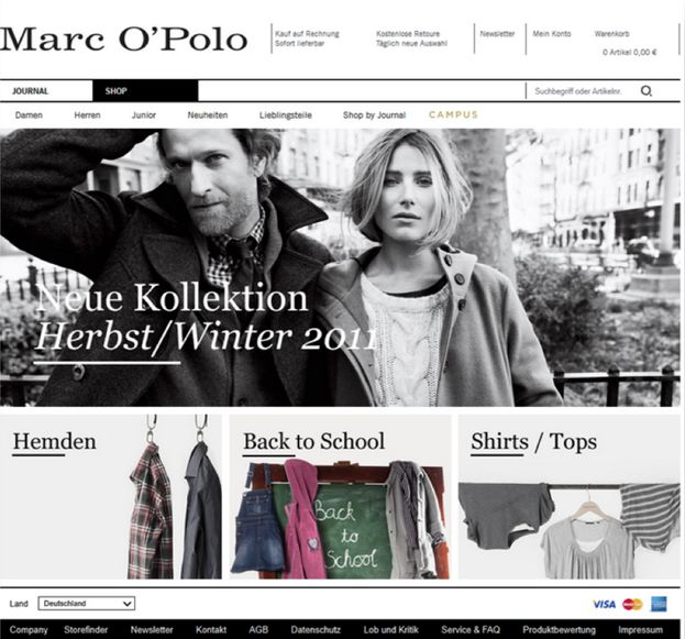 Screenshot of Marc O'Polo experiment