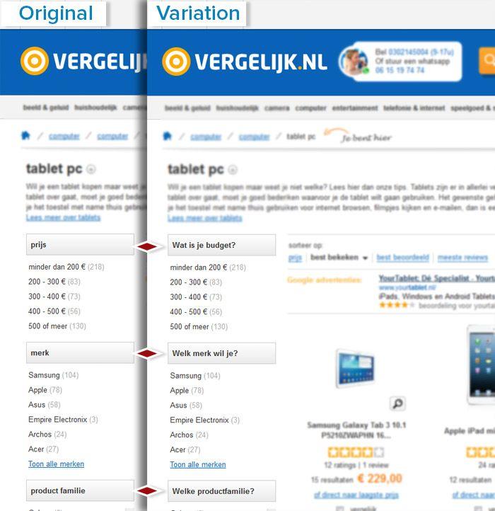 Optimizely Vergelijk.nl filter experiment