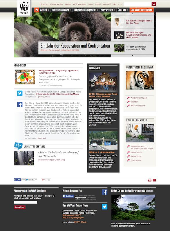 The WWF original homepage