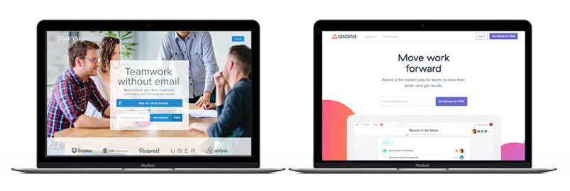 asana homepage before and after