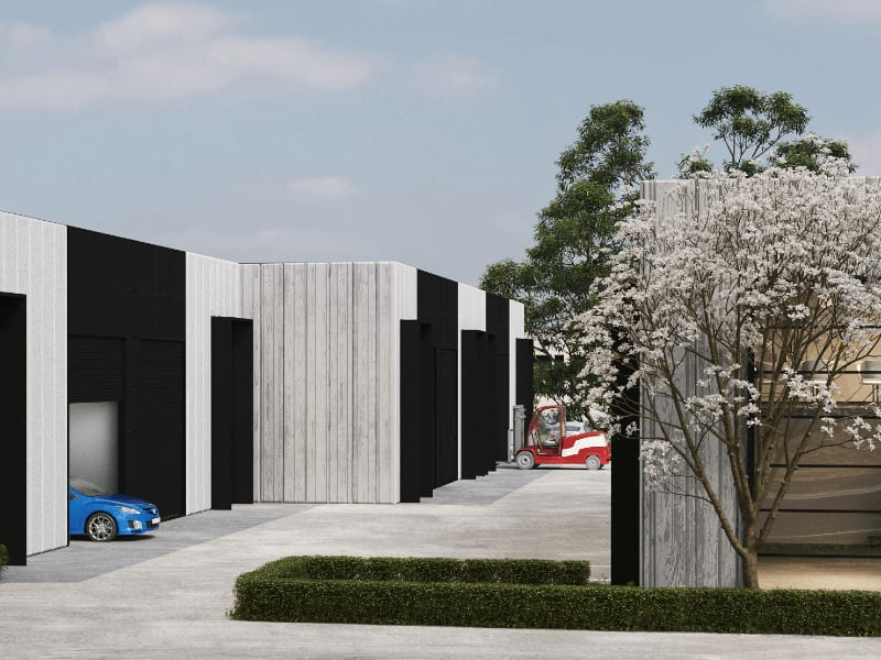 The Atlantic Business Park - Photorealistic Render of Street View from Haystacks Dr