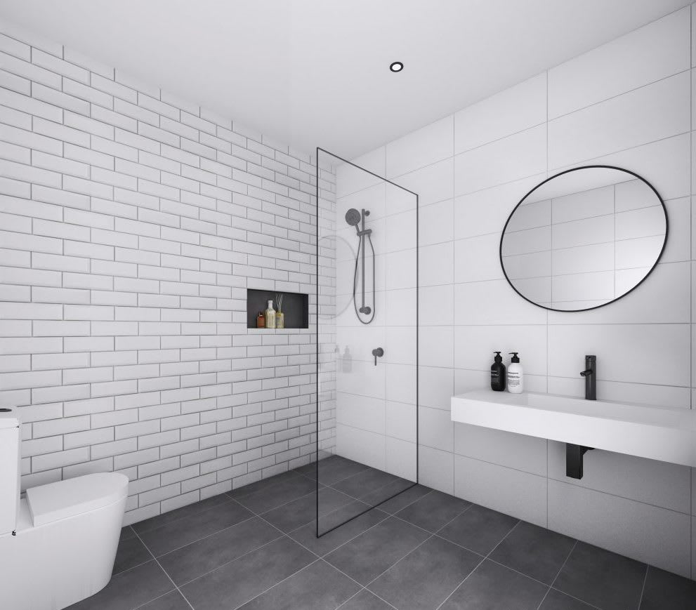 Photorealistic 3d Render of Architecturally Designed Commercial Bathroom Interior - Sovereign BP