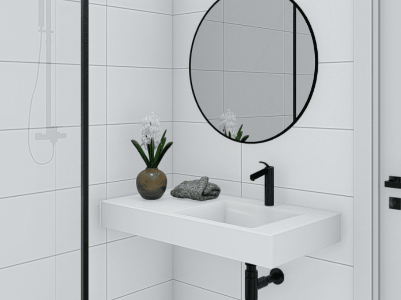 Close Up View of Bathroom Photorealistic Render Image - Cylinders BP