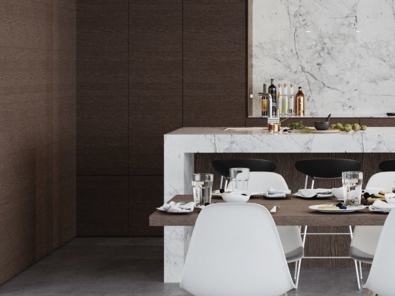 The Sanctuary Photorealistic Visualisation - Dining & Kitchen Render - Zoomed in thumbnail