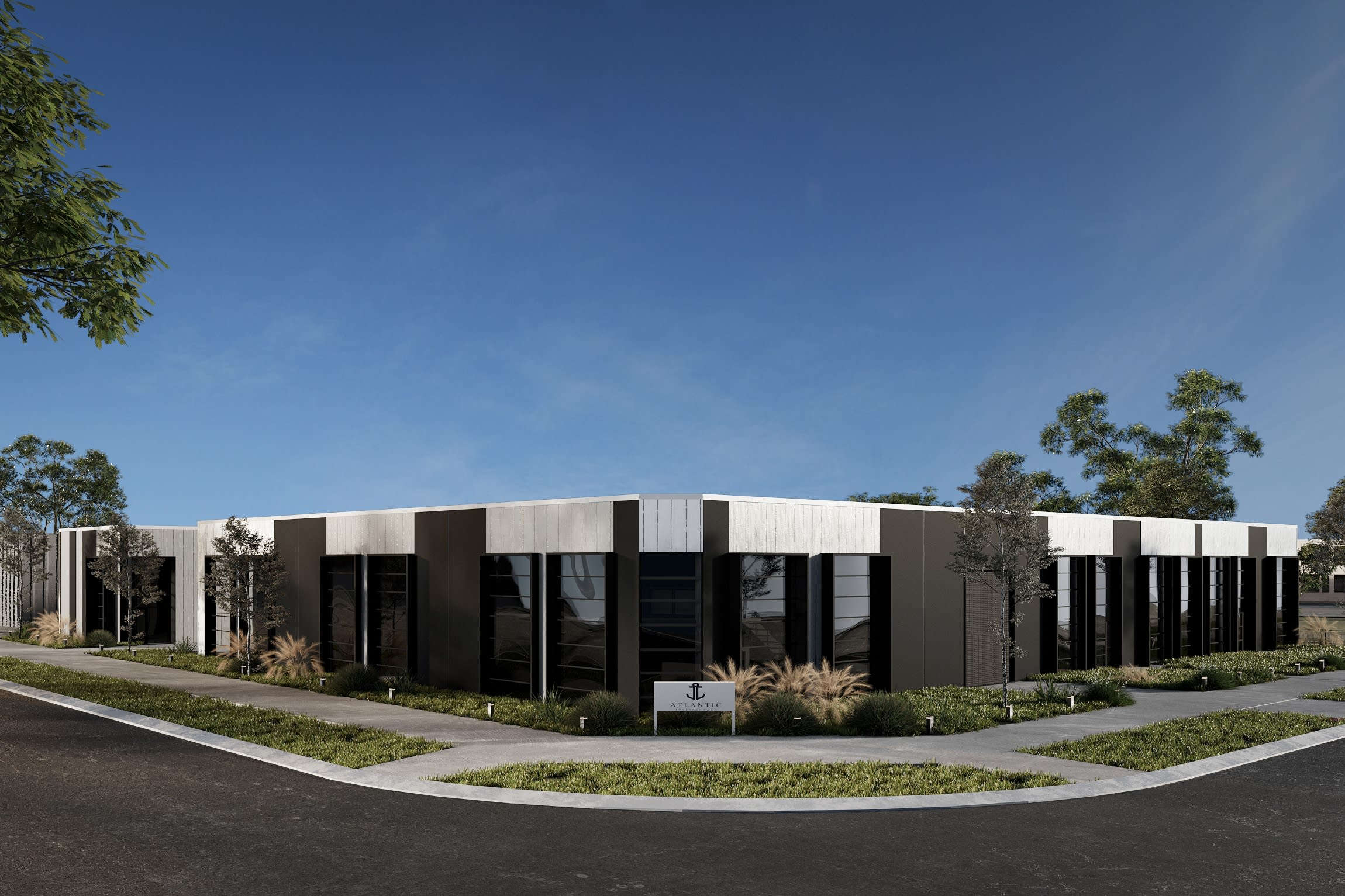The Atlantic Business Park - Cylinders View Photorealistic 3d Corner View HD