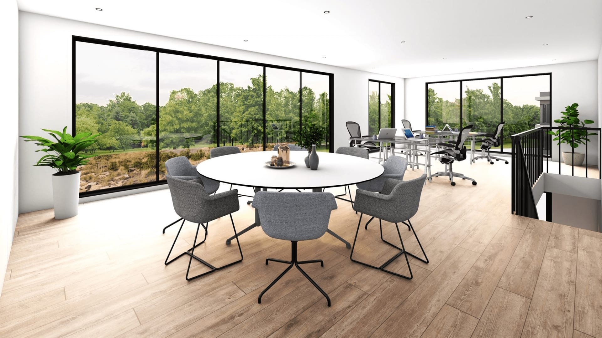 Photorealistic 3d Render of Architecturally Designed Interior Office Area