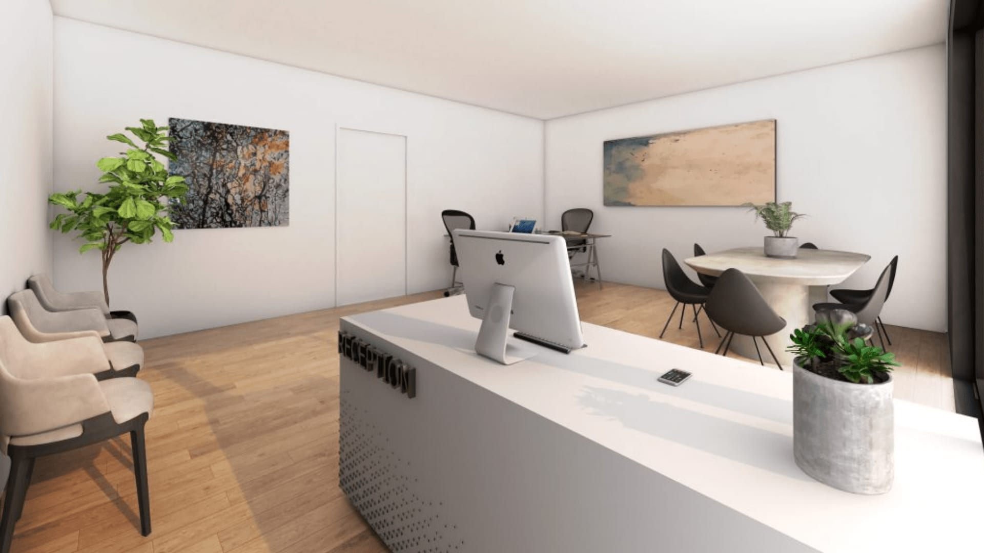 Photorealistic 3d Render of Architecturally Designed Commercial Reception Area