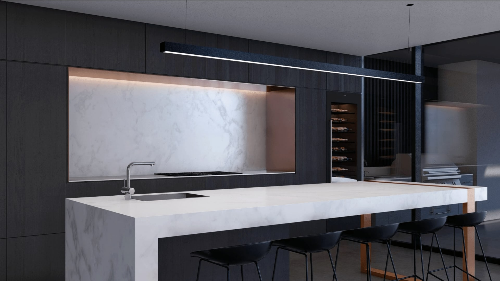 Photorealistic 3d Render of Architecturally Designed Home Kitchen from The Sanctuary Project