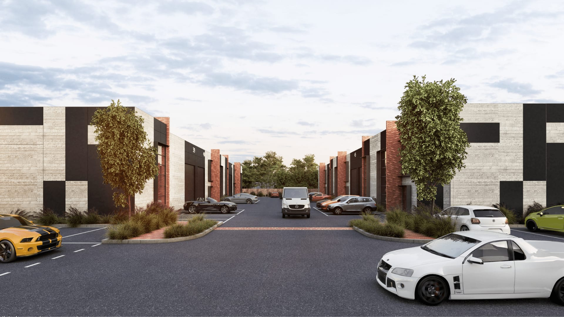 Photorealistic 3d Render of Architecturally Designed Warehouses at Sovereign BP - Driveway