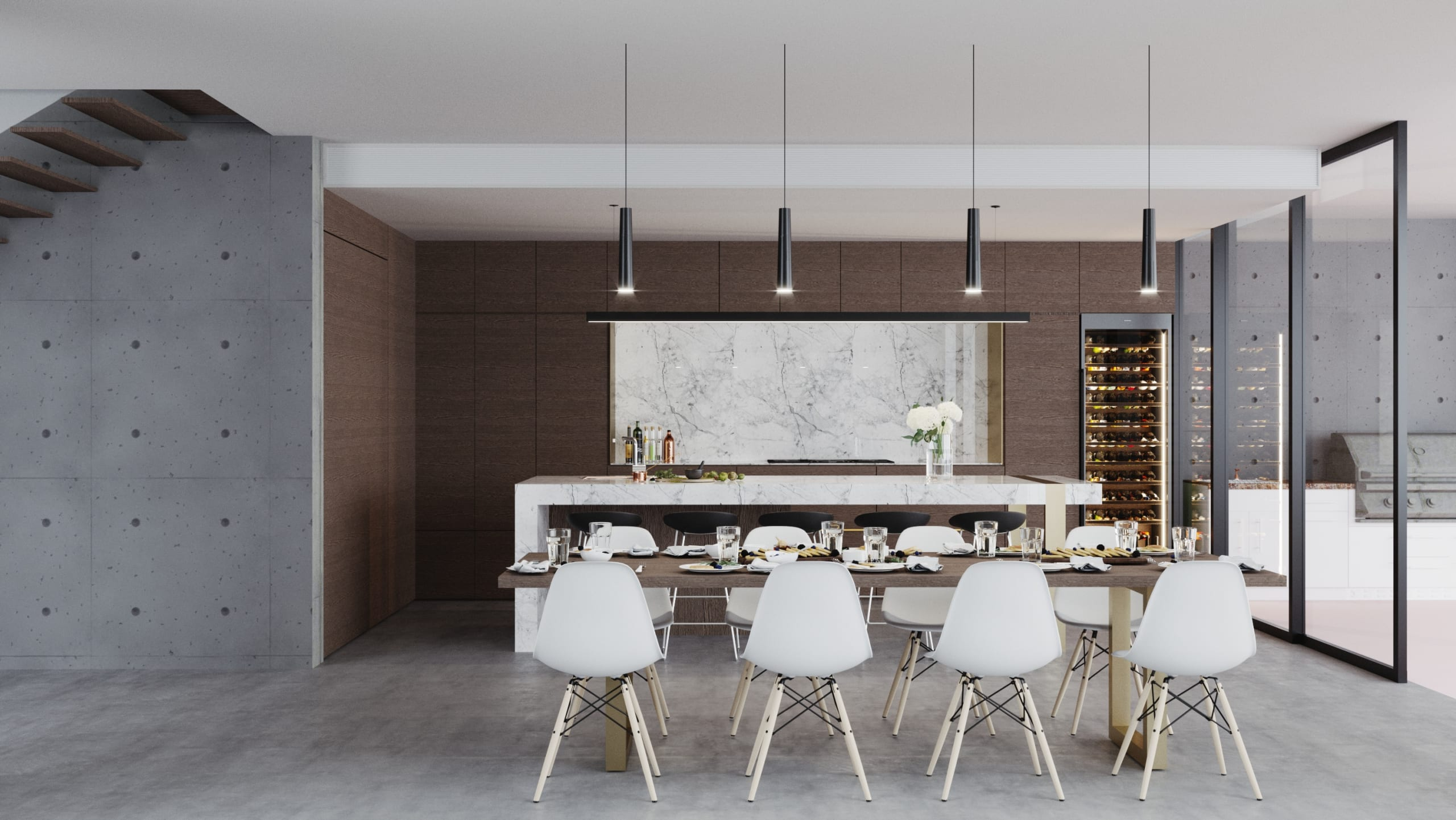 The Sanctuary Photorealistic Visualisation - Dining & Kitchen Render