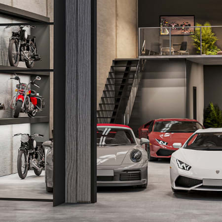Photorealistic Render of Lamborghini parked in warehouse garage