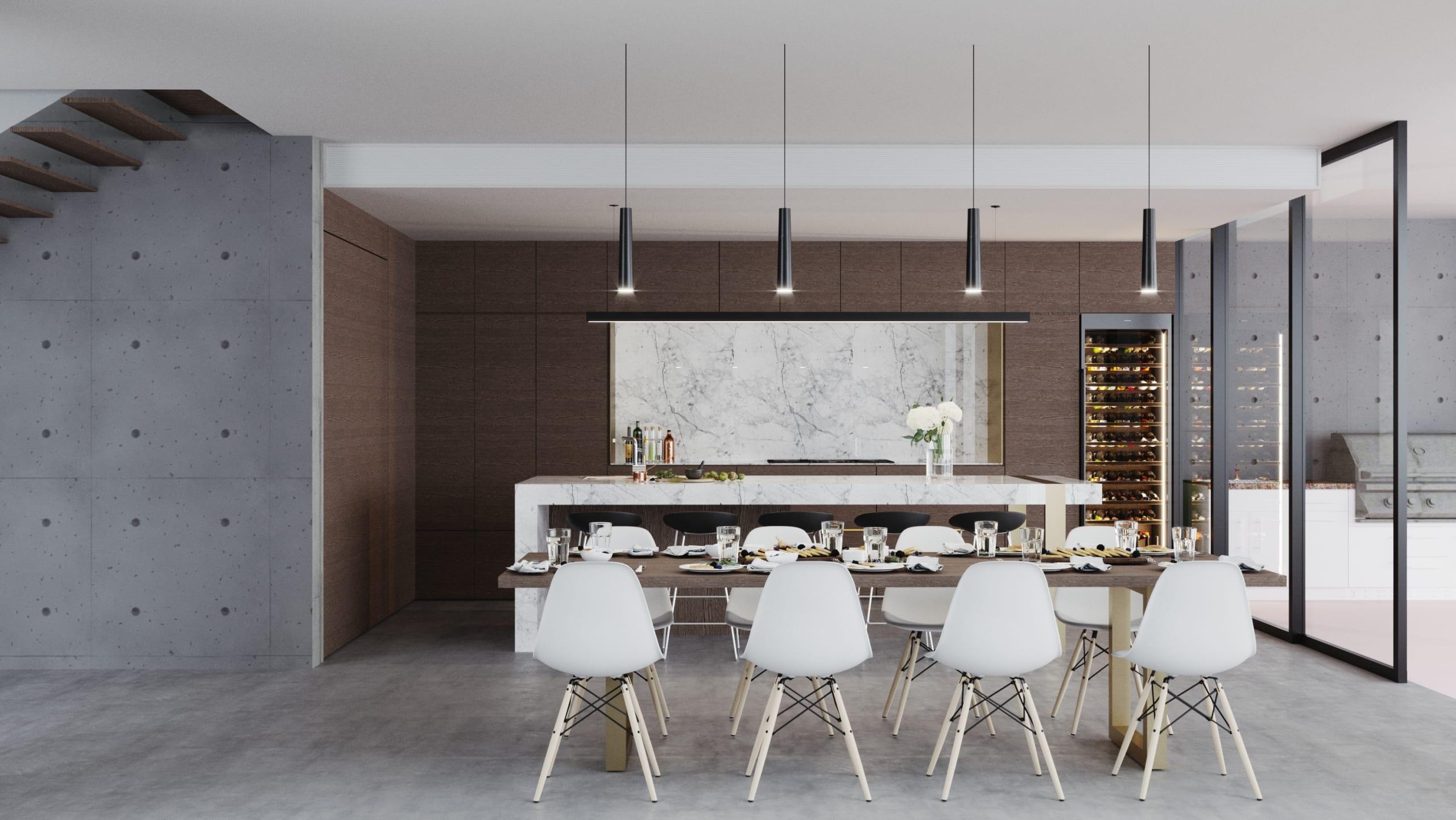 The Sanctuary Photorealistic Visualisation - Dining & Kitchen Render