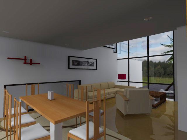 Render de Diseño de Interiores Área de Sala Comedor de Casa Moderna Contemporánea
