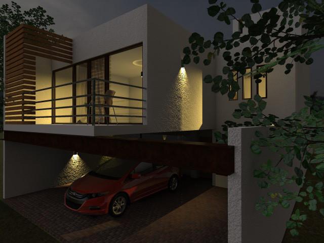 Render de Fachada Principal de Casa Moderna Contemporánea. Vista Nocturna, Diseño Por Dyccya Arquitectos