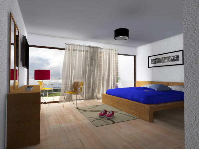 Render De Diseño de Interiores Área de Recámara Para Casa Moderna Contemporánea De Dos Pisos