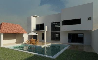 Imagen de la fachada posterior de una casa minimalista con alberca diseñada por Dyccya Arquitectos. Se muestra el área de alberca y la fachada posterior, vista diurna