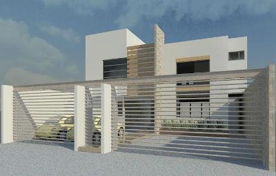 Render del diseño de la fachada principal de una casa minimalista pequeña. Vista diurna diseñada por Dyccya Arquitectos
