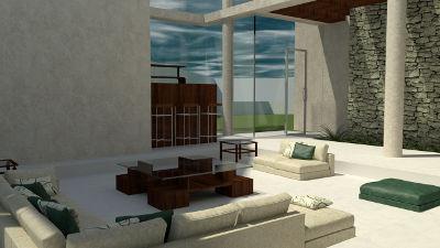 Render del diseño de interiores para la sala de una casa minimalista a ubicar en Metepec
