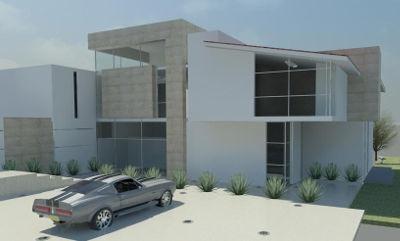Render que muestra la vista diurna del diseño de la fachada para una casa minimalista de dos pisos