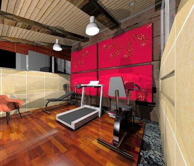 Render Que Muestra El Diseño Interior de Gimnasio Para Una Casa de Estilo Moderno Realizado Por Dyccya Arquitectos, Despacho De Arquitectura Con Presencia En Monterrey Nuevo León