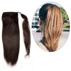 Human Hair Velcro Ponytail - Natural Perm Straight 16