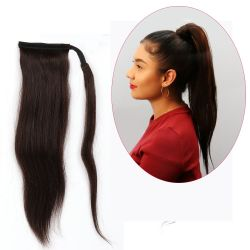 Human Hair Velcro Ponytail - Silky Straight 16