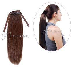 Human Hair Ponytail  - Natural Perm Straight 14