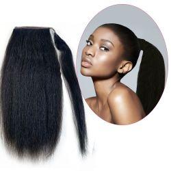 Human Hair Velcro Ponytail - Kinky Straight 14