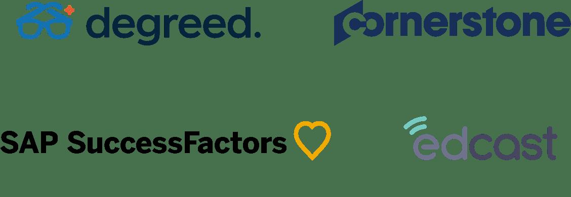 Logos for degreed, cornerstone, SAP SuccessFactors, and edcast