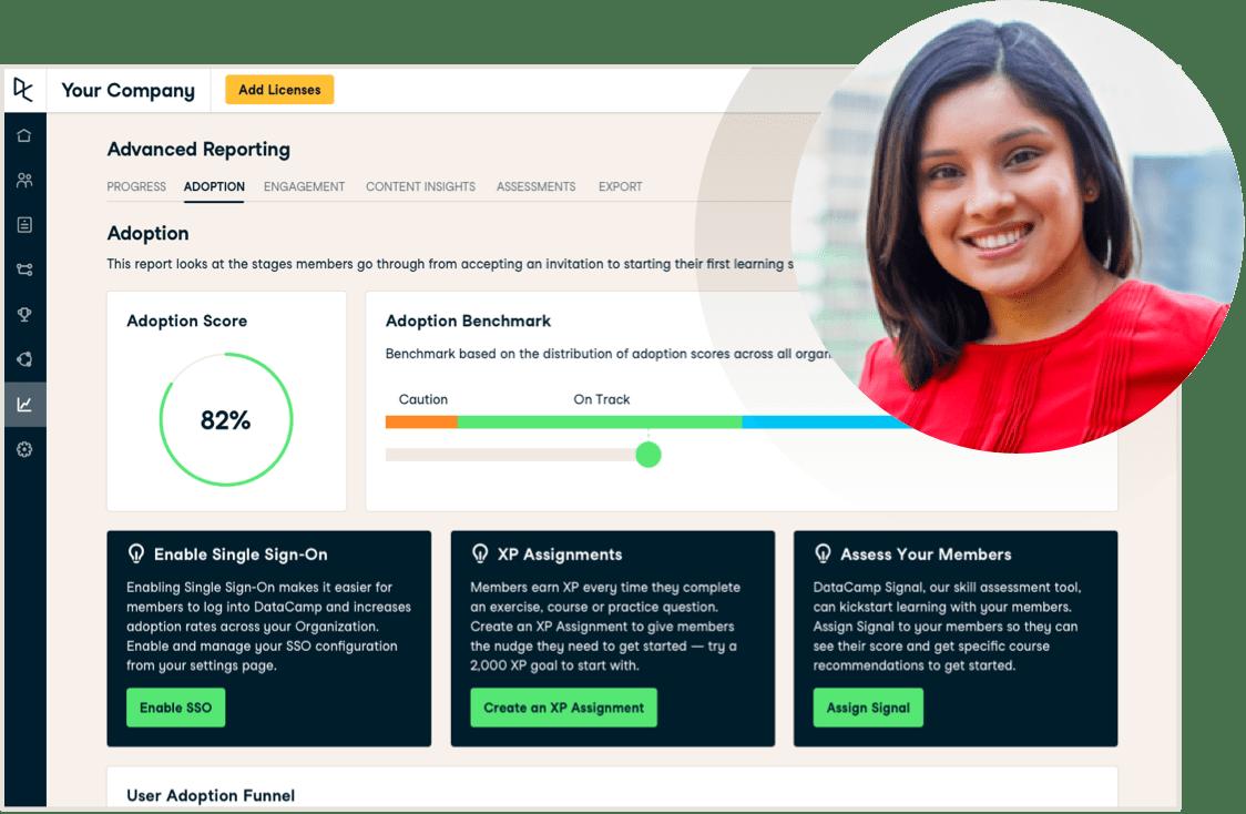 Screenshot of the enterprise UI