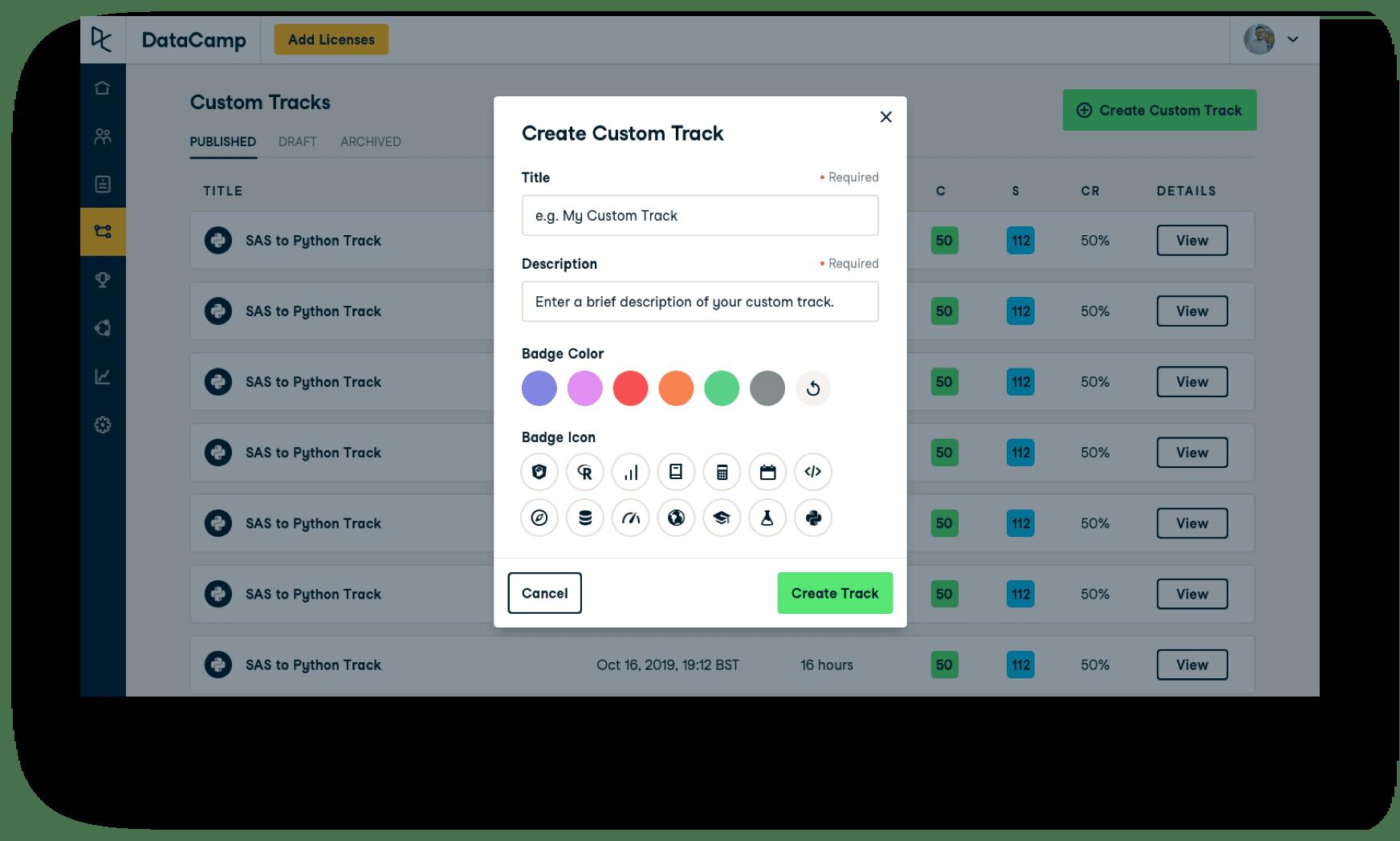 Screenshot of the custom UI