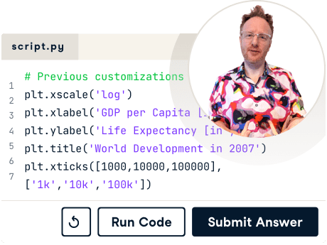 Screenshot of code and an instructor