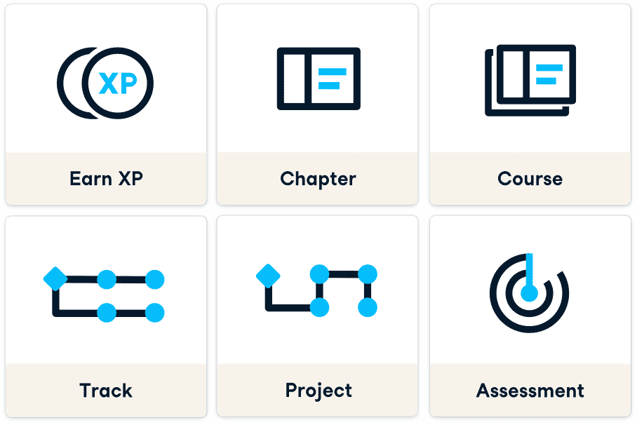 Icons and text for earn xp, chapter, course, track, custom track, and assessment