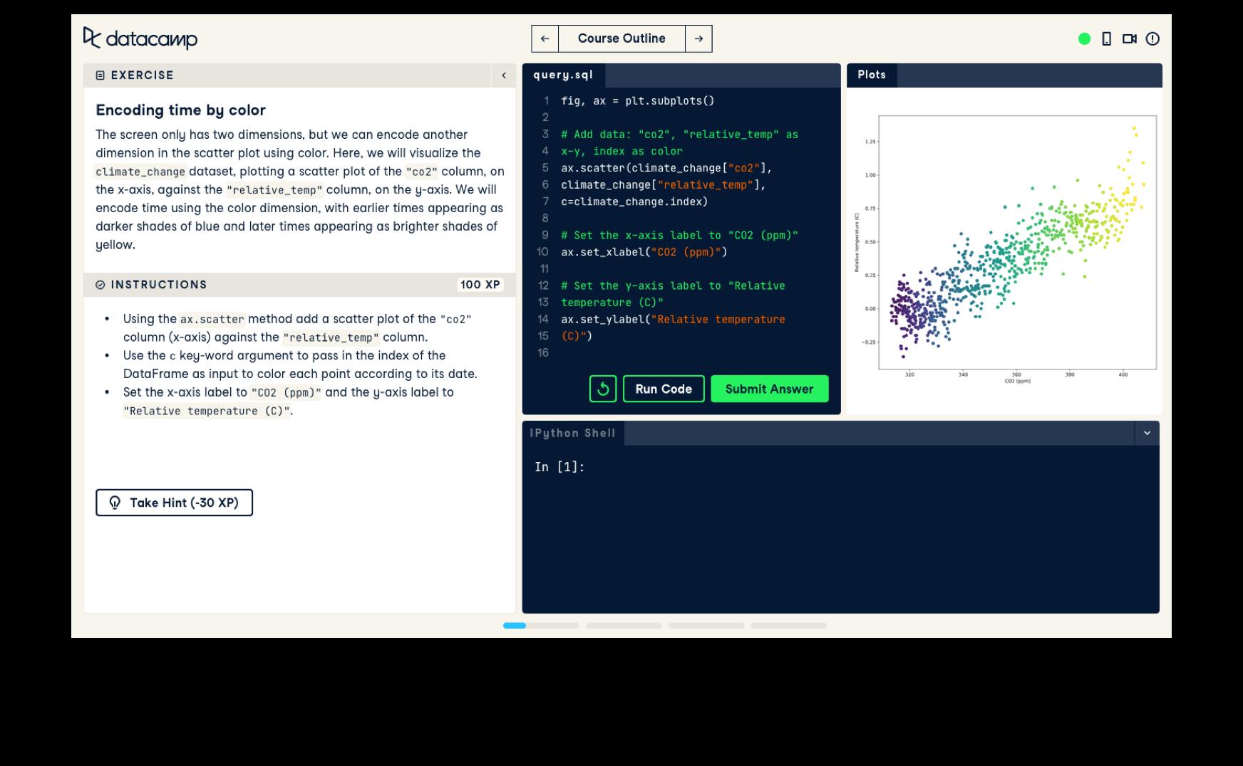 Screenshot of the interactive UI