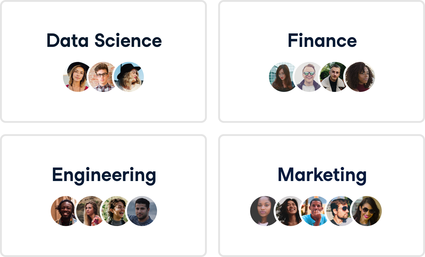 Image of different teams in a DataCamp organization.