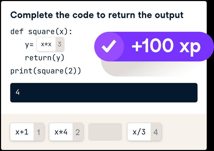 UI of receiving 100xp