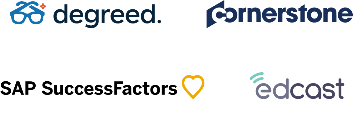 Logos for degreed, cornerstone, SAP SuccessFactors, and edcast