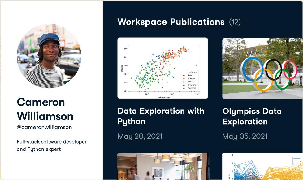 Screenshot of a workspace portfolio