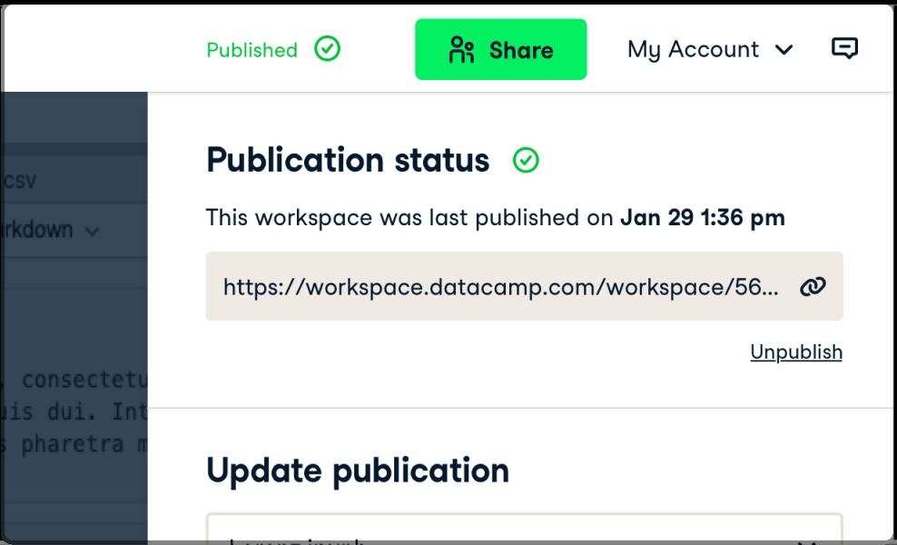Screenshot of the workspace UI
