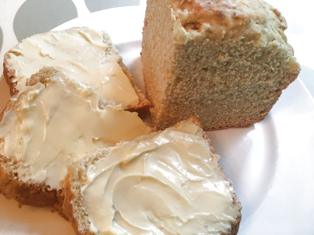 White soda bread sliced and buttered