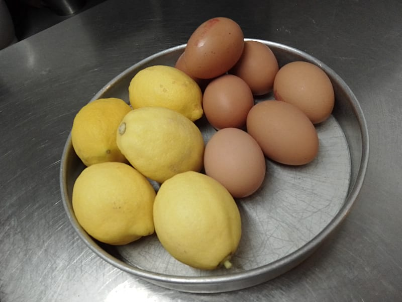 Eggs and lemons in a bowl ready to be used