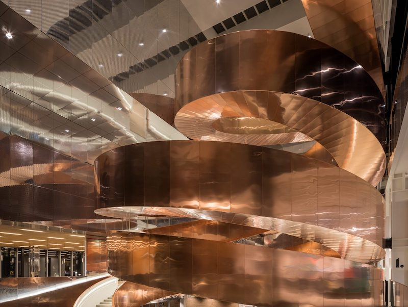 Copper helix staircase by Adam Mork