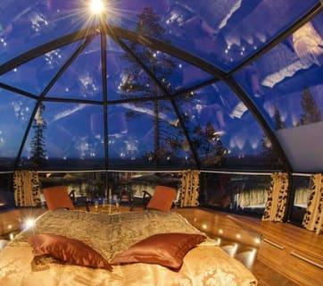 Glass Igloo interior, Kakslauttanen Arctic Resort, Finland