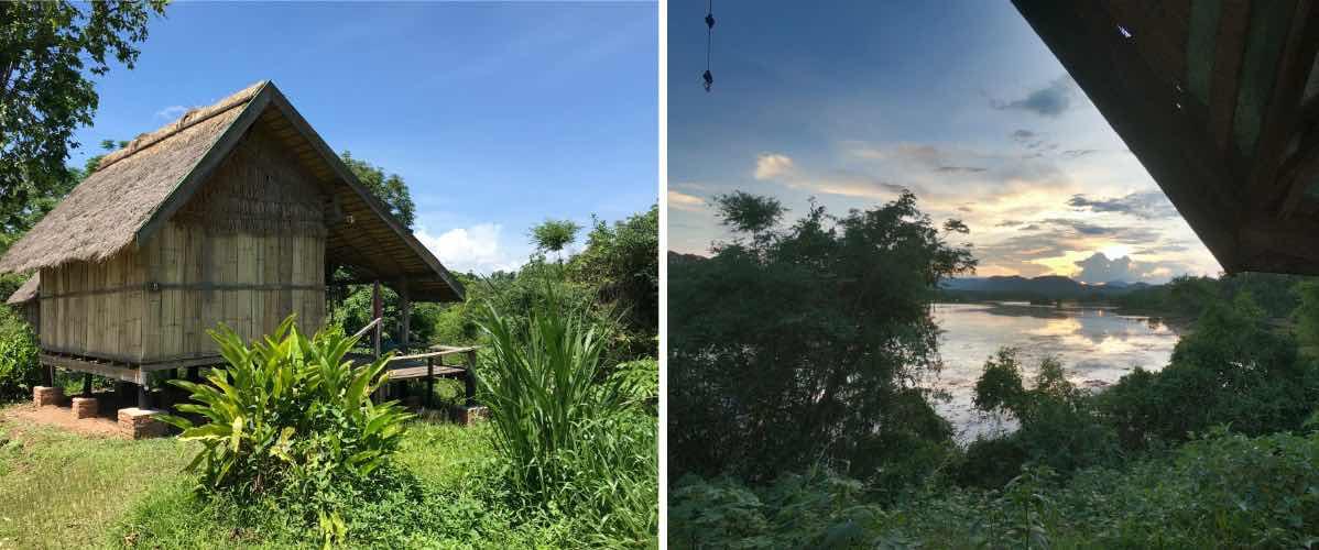 vue lac Nam Tien au centre des éléphants