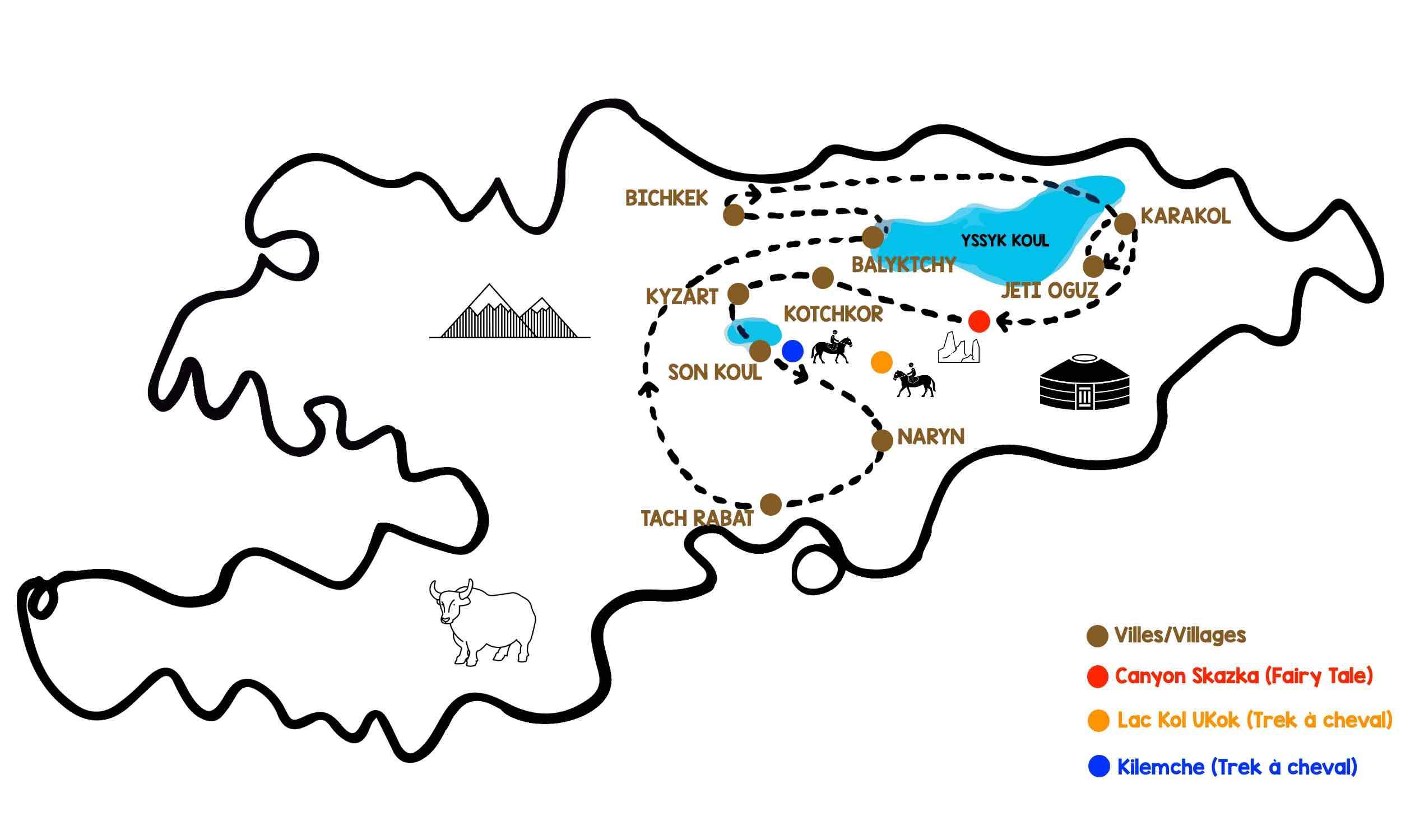 kirghizistan itinéraire idée voyage